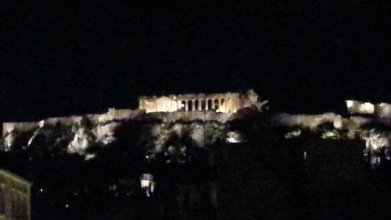 O&B Athens Boutique Hotel: Room view at night