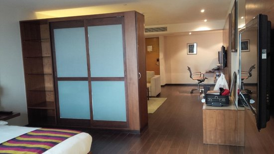 Radisson Blu Plaza Hotel Hyderabad Banjara Hills: to wards the enterance of the room.
