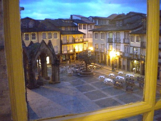 Hotel da Oliveira: View from my bathroom of Largo de Oliveiras in early evening