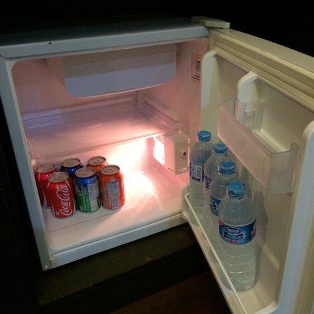 The Royal Nakara: each drink in the fridge is 20 baht