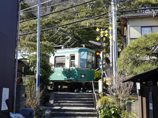 Goryo Shrine : 目の前を横切る江ノ電