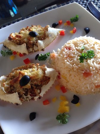 Harbour Winds Hotel: Baked crabs!!