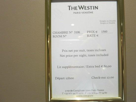 The Westin Paris - Vendôme : 正規料金
