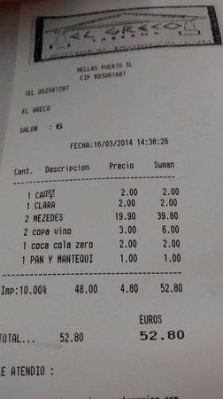Restaurant El Greco: Menú degustación + bebida. 16/03/2014