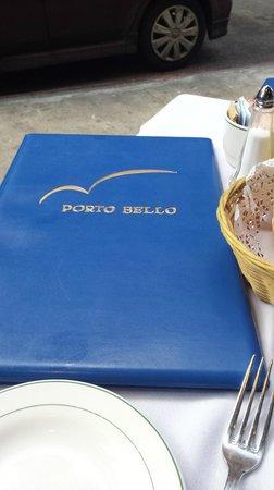 Porto-bello Restaurant: The menu cover
