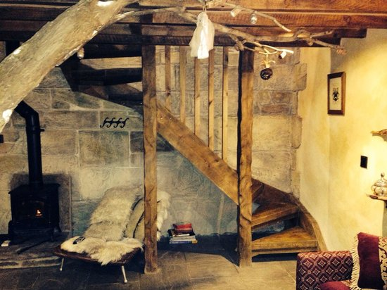 Falstone Barns: Staircase in Romantic Medieval