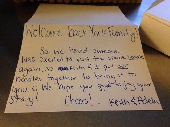 Kimpton Alexis Hotel: Nice note from the hotel