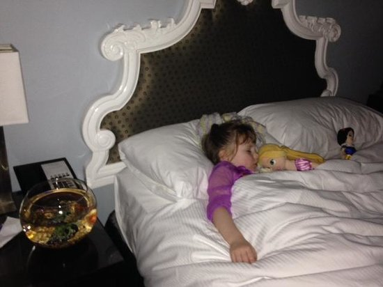 Alexis Hotel - a Kimpton Hotel: Comfortable sleeping in her super comfy bed!