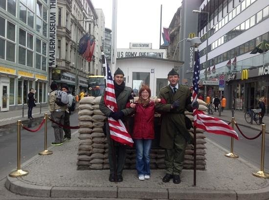 Checkpoint Charlie: maccy d's on the right. woohoo!