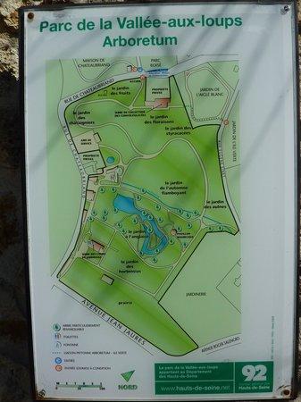 Arboretum de la Vallée-aux-Loups: plan
