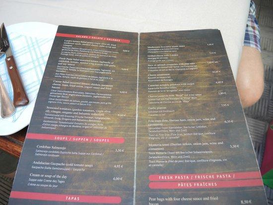 Tasca la Monteria : Ein Blick in die Speisenkarte