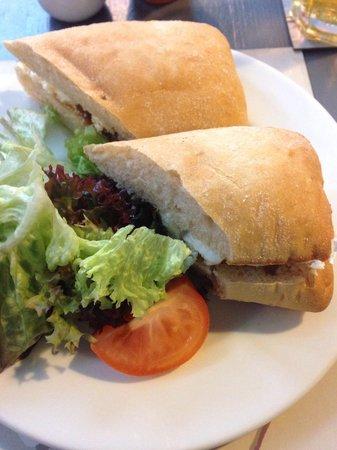 Roots and Fruits Vegetarian Cafe: Goats cheese and homemade marmalade ciabatta