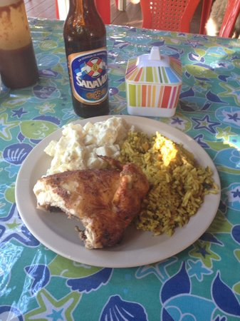 Creole's Rotisserie Chicken: 1/4 chicken, potato salad & rice. Yum!
