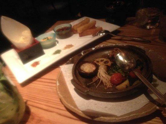 Nobu Honolulu : Nobu fish and chips (Seabass) and tachimi veg.