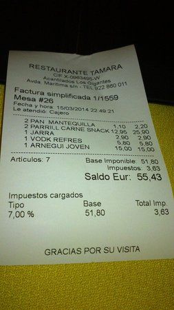 Tamara : The bill for 2; mixed meat grill, bottle of red, and two drinks.