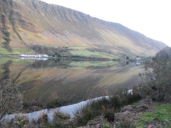 The Old Rectory on the Lake: View across lake to Tyn y Cornel Hotel and the real Graig Goch Ridge