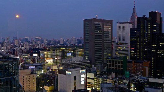 Keio Plaza Hotel Tokyo: Moon-rise over the city from bedroom