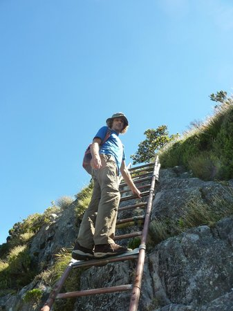 Hike Table Mountain: Riaan taking the final ascent
