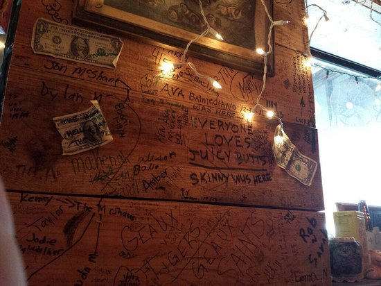 The Shed: Dollar bills written on