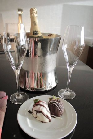 Grand Hyatt DFW : Complimentary champagne and chocolate-covered strawberries for our honeymoon