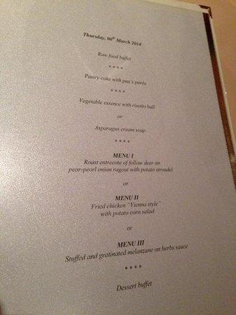 Austria Bellevue Hotel: Typical dinner menu