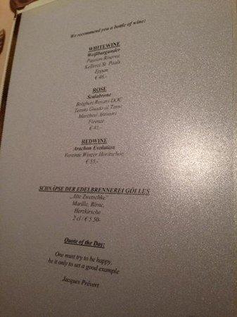 Austria Bellevue Hotel: Wine was pricey (46, 41 and 55€)