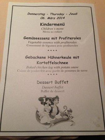 Austria Bellevue Hotel: Typical childrens menu