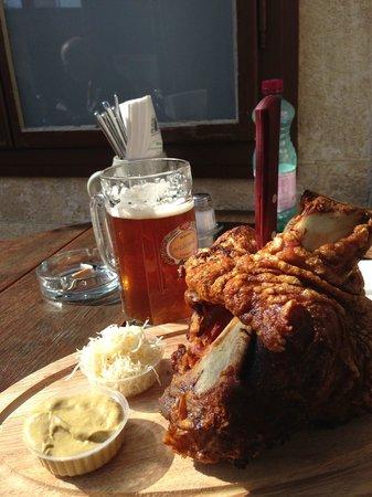 Salm Brau Klosterbrauerei: Huge pork shank! Enough for 3 hungry people.