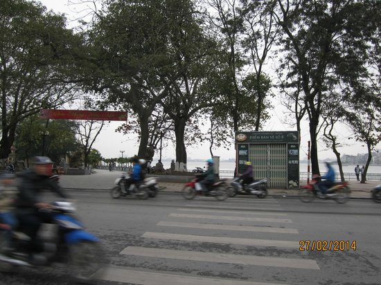 To cross the road to get to West Lake