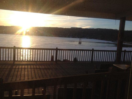 Top of the Lake: View of the outside deck, it will be a great place to eat in the summer!