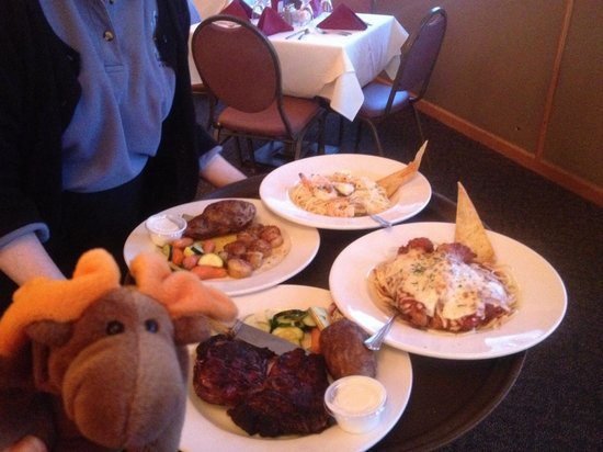 Top of the Lake: Look at the food! Delmonico Steak, Chicken Parm, Scallops, and Shrimp Scampi. All delicious and
