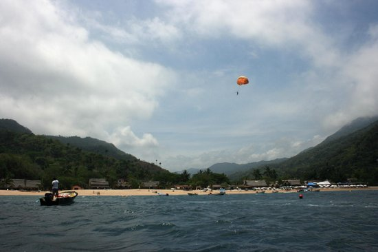 Yelapa Waterfalls: Yelapa Beach from our sailboat