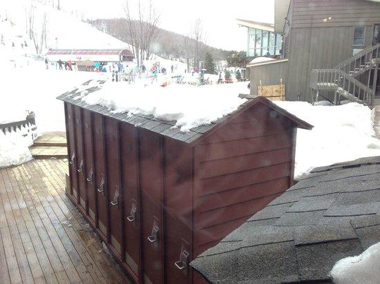 Crystal Mountain: Ski lockers just outside the Hamlet