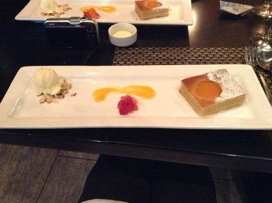 Bistro 101 at Pacific Institute of Culinary Arts: Apricot tart and...other good stuff.