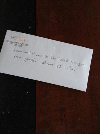 The Wolas Villas & Spa : Письмо главному менеджеру.вкратце:освещение минимально,как в пещере,полотенца грязные не меняют,