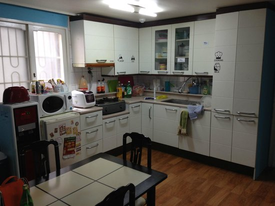 Kim's Hongdae Guesthouse - Mr. Kim's Branch : Kitchen and living area