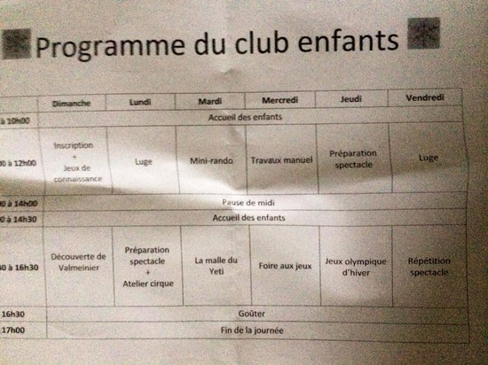 La Lauza : Programme du club enfants