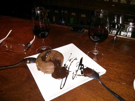 El Pasaje Sevilla: Chocolate culant and a glass of Pedro Ximenez....absolute heaven