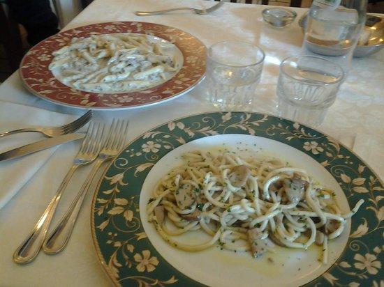 Taverna dei Consoli : i nostri piatti! pennette con panna e tartufo e strangozzi ai funghi porcini