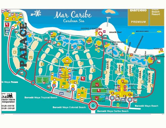 Barcelo Maya Beach This Is A Map Of Complex