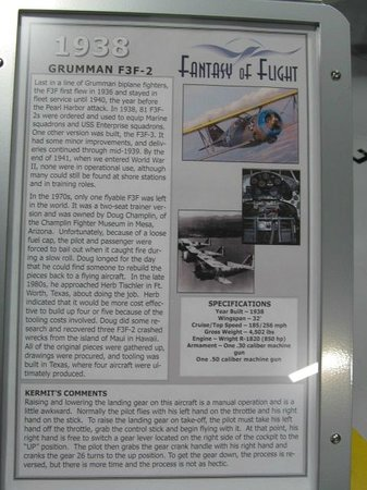 Fantasy of Flight: An information plaque on one of the planes