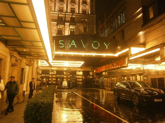 The front of the Savoy at night