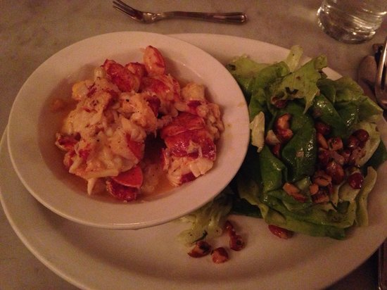 Neptune Oyster: Buttered Lobster roll sans bun with a side salad.