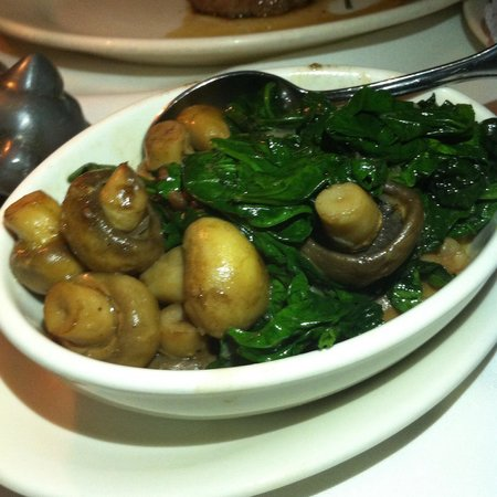 Morton's Steak House : Sautéed button mushroom and spinach. Nicely seasoned, preserving natural goodness of the button