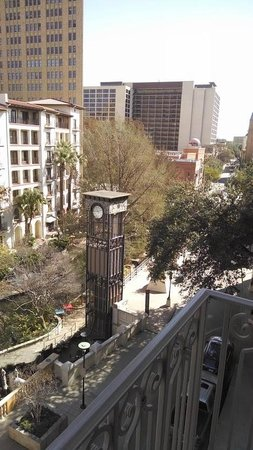 Mokara Hotel and Spa: View from our Riverwalk-side room.  Omni's lovely La Mansion is directly across the Riverwalk.