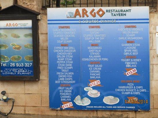 Argo : Menu board