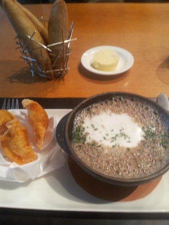 The Modern: Wild Mushroom Soup with toasted chorizo ravioli