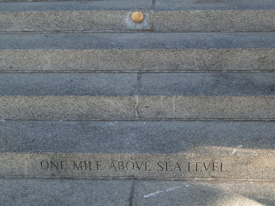 Colorado State Capitol: 'One Mile Above Street Level' on the Capital steps