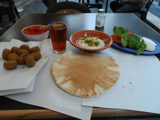 Lunch at Hashem - Falafel, salad, bread, hummus and mint tea