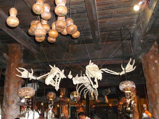 La Buena Vida Restaurant: Skeletons over the bar.
